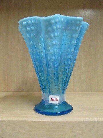 "1012: Fenton blue opal Hobnail 9"" napkin vase"