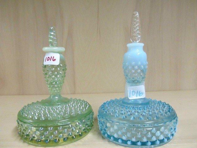 1016: Fenton Hobnail vanity set- green opal