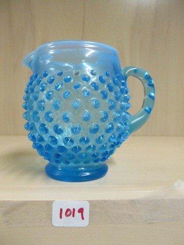 "1019: Fenton blue opal Hobnail 4.5"" pitcher"