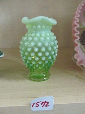 1572: Fenton green opal mini hobnail vase