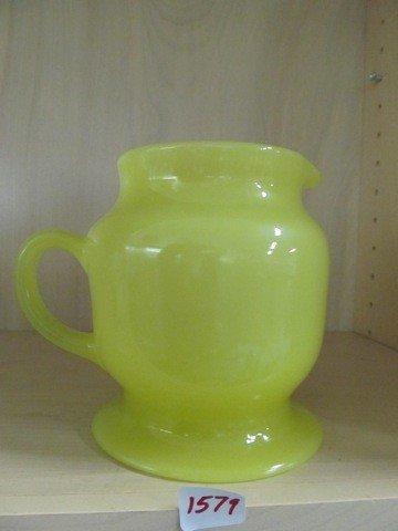 1579: VERY RARE Chinese yellow Pancake pitcher, Milwauk