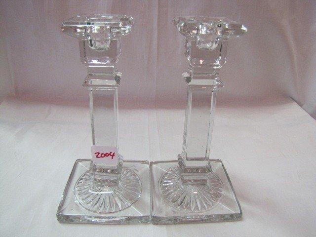 "2004: Pair 7"" crystal candlesticks"