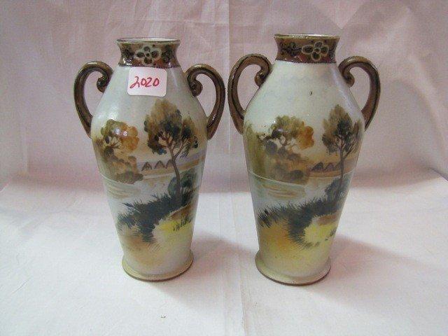 """2020: Pair Nippon 7"""" scenic vases"""