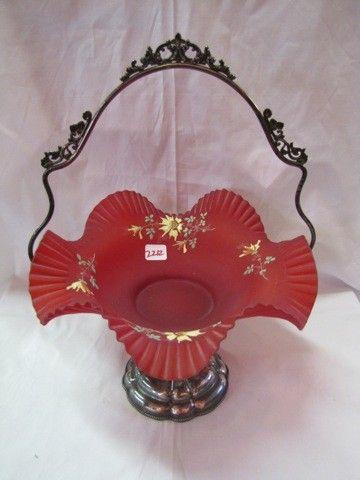 2212: Victorian Pigeon Blood Brides basket in SP frame