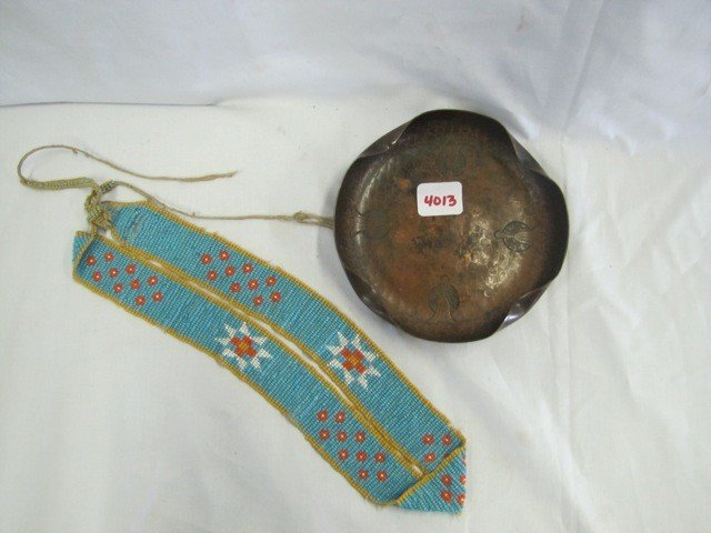 4013: Indian beads and Hammered copper indian decor tra