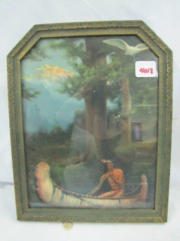 "4018: 10x8"" framed Inidan in canoe picture"