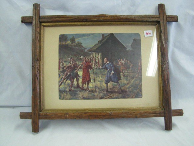 "4021: 16 x 12"" framed Indian print, Warriors by Fort"