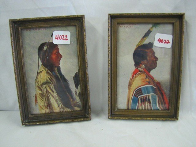 "4022: 2 - 6 x4"" Indian prints in frames, Chief joseph &"
