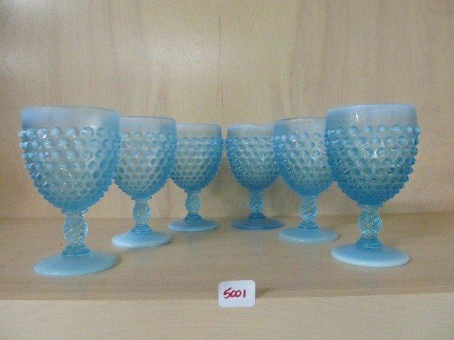 """5001: Fenton Blue Opal Hobnail Set of (6) 5.5"""" Goblets"""