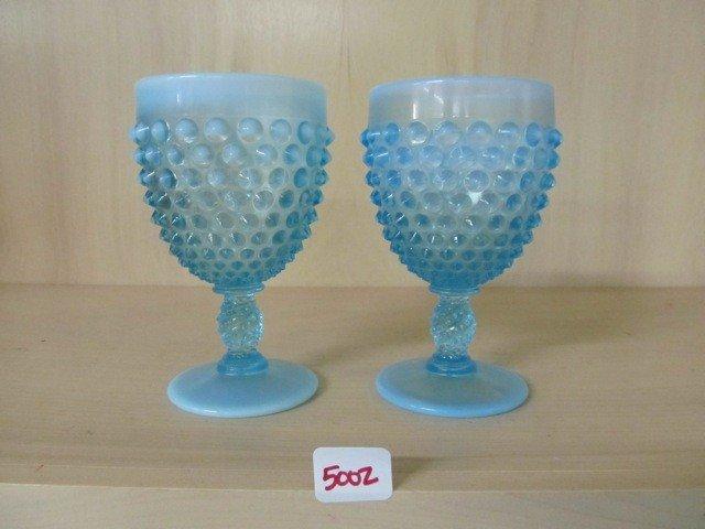 "5002: Fenton Blue Opal Hobnail (2) 5.5"" Goblets"