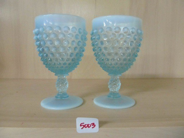 "5003: Fenton Blue Opal Hobnail (2) 5.5"" Goblets"