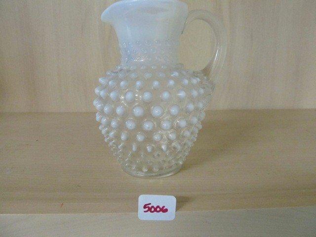 "5006: Fenton Blue Opal Hobnail 5.5"" Syrup Jug"