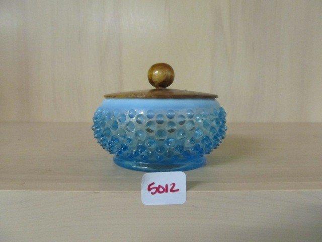 5012: Fenton Blue Opal Hobnail Covered Powder w/ Wood L