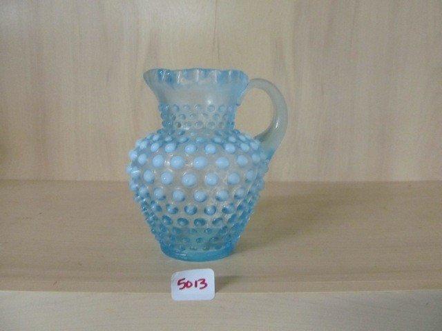 """5013: Fenton Blue Opal Hobnail 5.25"""" Syrup Pitcher"""