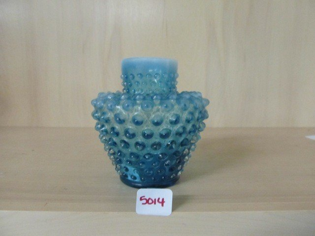 "5014: Fenton Blue Opal Hobnail 4.5"" Vase"