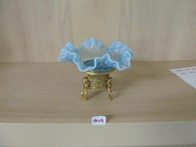 """5015: Fenton Blue Opal Hobnail 6"""" CRE Bowl in Cherub Fr"""