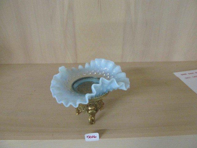 """5016: Fenton Blue Opal Hobnail 6"""" CRE Bowl in Cherub Fr"""