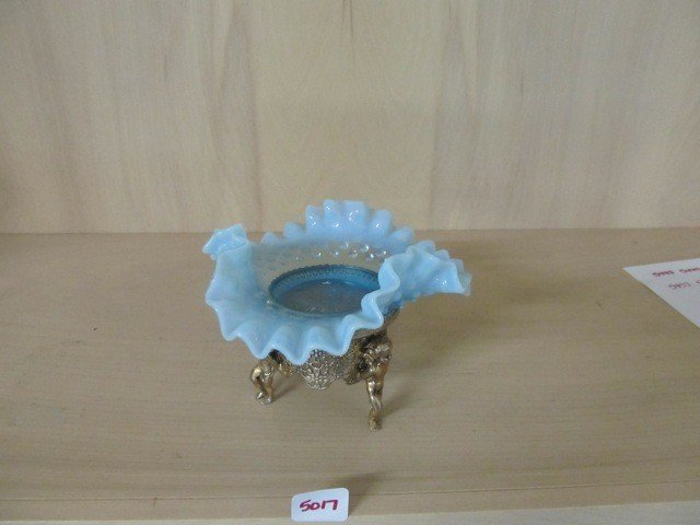 """5017: Fenton Blue Opal Hobnail 6"""" CRE Bowl in Cherub Fr"""