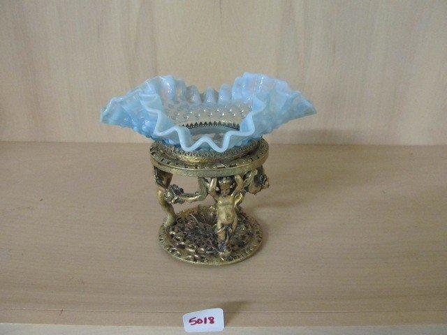 """5018: Fenton Blue Opal Hobnail 6"""" CRE Bowl in Cherub Fr"""