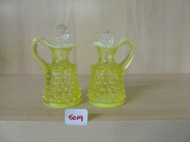5019: Fenton Topaz Opal Hobnail 2 - mini cruets - 3