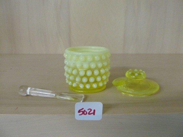 5021: Fenton Topaz Opal Hobnail Mustard Jar
