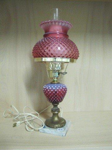 "5635: Fenton Cranberry Opal Hobnail 18"" Student lamp"
