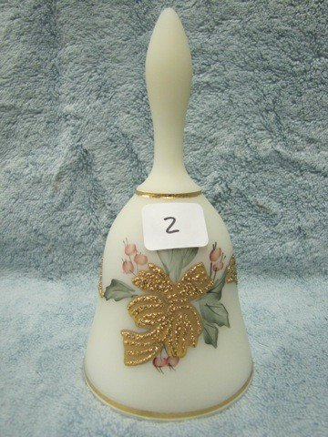 "2: Fenton 6 1/2"" custard bell signed by Meeks"