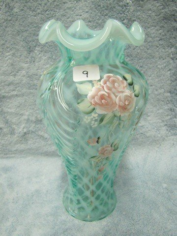 "9: Fenton 11"" Feathers vase-lattice opal signed Everson"