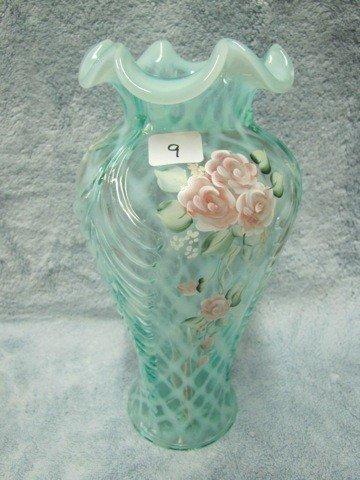 """9: Fenton 11"""" Feathers vase-lattice opal signed Everson"""