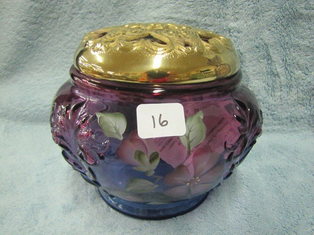 16: Fenton purple HP floral evening blossom covered box