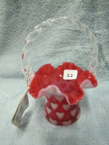 22: Fenton cranberry opal heart basket