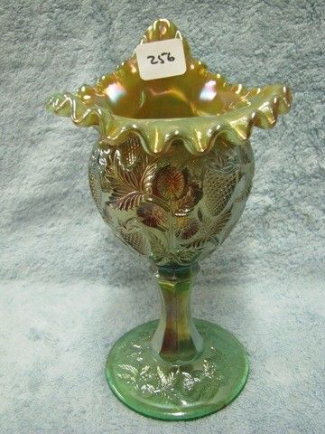 Fenton green opal inverted strawberry JIP vase