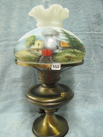 "332: Fenton 20"" HP lamp w/train depot scene signed Dick"