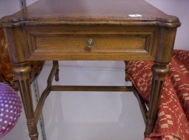 1: Salesman sample furniture end table W/ burle top NIc