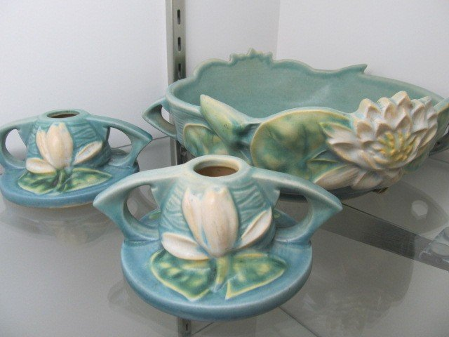 4: Roseville Waterlily console set 3 pc