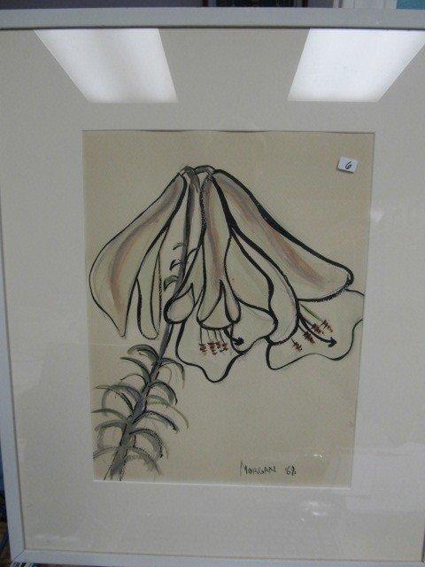 """6: Super  framed 26 x 21.5"""" signed Morgan '68 Poppies."""
