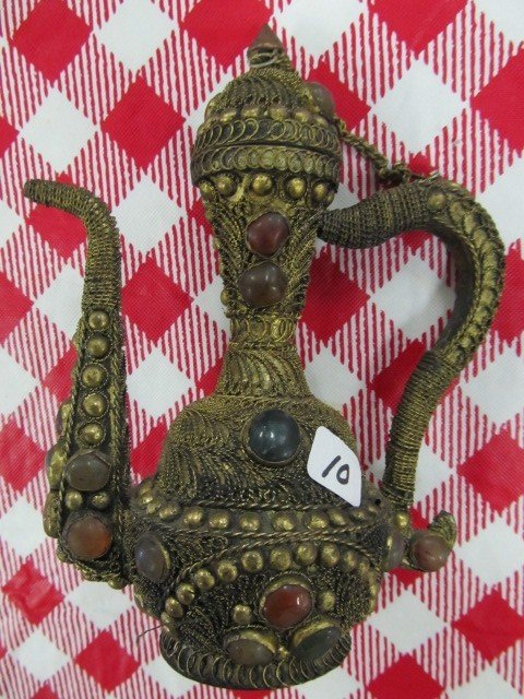 "10: Oriental jeweled brass 6"" teapot all hand done"