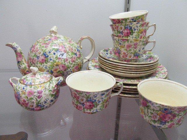 14: Set Royal Winton Chinz Summertime Teapot sugar 5 cu