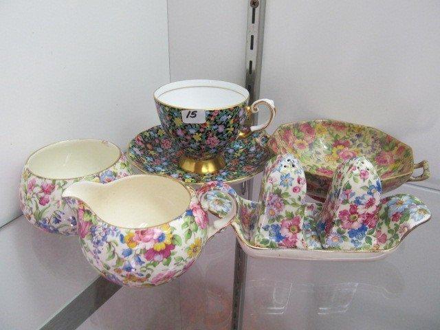 "15: Lot of Chinz china, C/S, Salt set/ 5"" bowl Cr/sug s"
