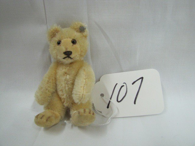 "107: Steiff Mini Bear 4"" jointed, Ear button SB RAISED"