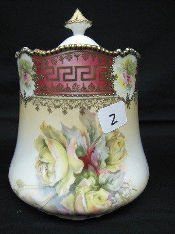 2: UM RSP floral cracker jar w/roses decor. Very nice.