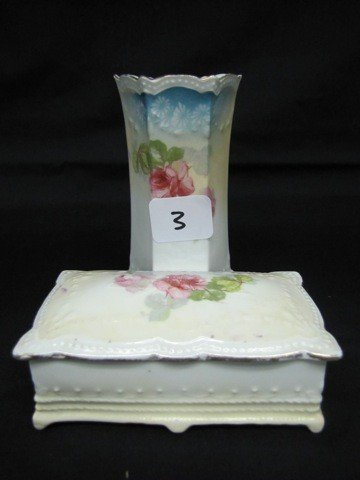 3: RSP floral hatpin holder w/attached pin box