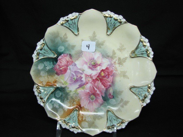 """4: RSP 9"""" violet mold plate w/poppies"""