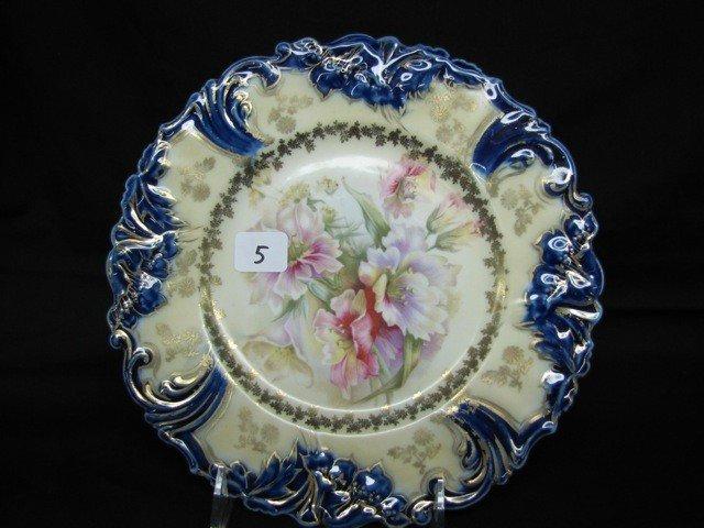 5: UM RSP cobalt folded poppies floral plate
