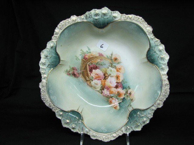 """6: RSP 11"""" floral bowl Laying Basket of Flowers"""