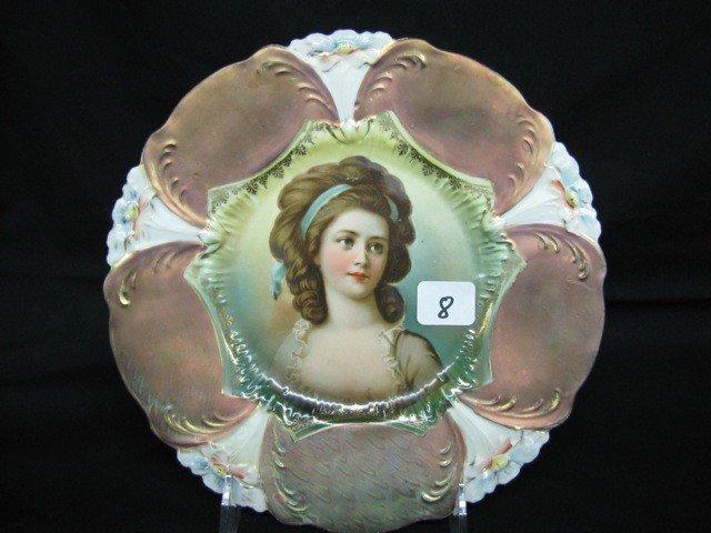 """8: UM RSP 8 1/2"""" Lily mold plate. Tiffany w/Potocka por"""