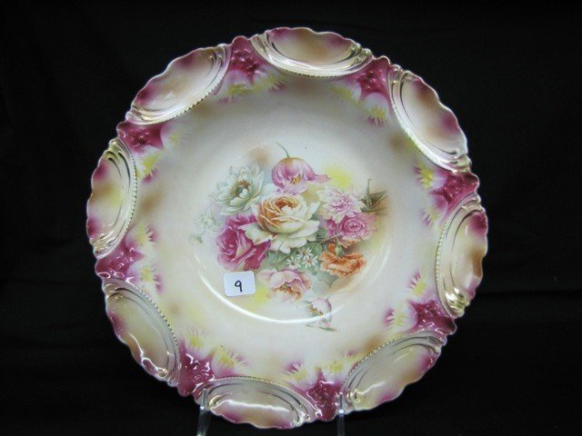 """9: RSP 11"""" floral bowl w/roses & poppies. Dark pink and"""