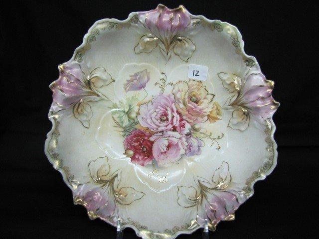 "12: RSP 10 1/2"" satin finish Iris mold bowl w/raised go"