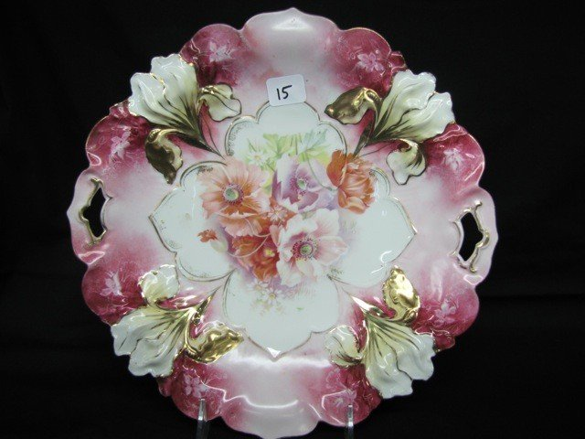 """15: RSP 11"""" Iris mold cake plate w/poppy decor and gold"""