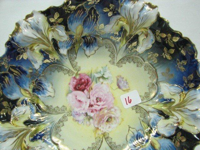 "16: RSP 10"" Cobalt iris mold bowl w/ Carnations decor S"
